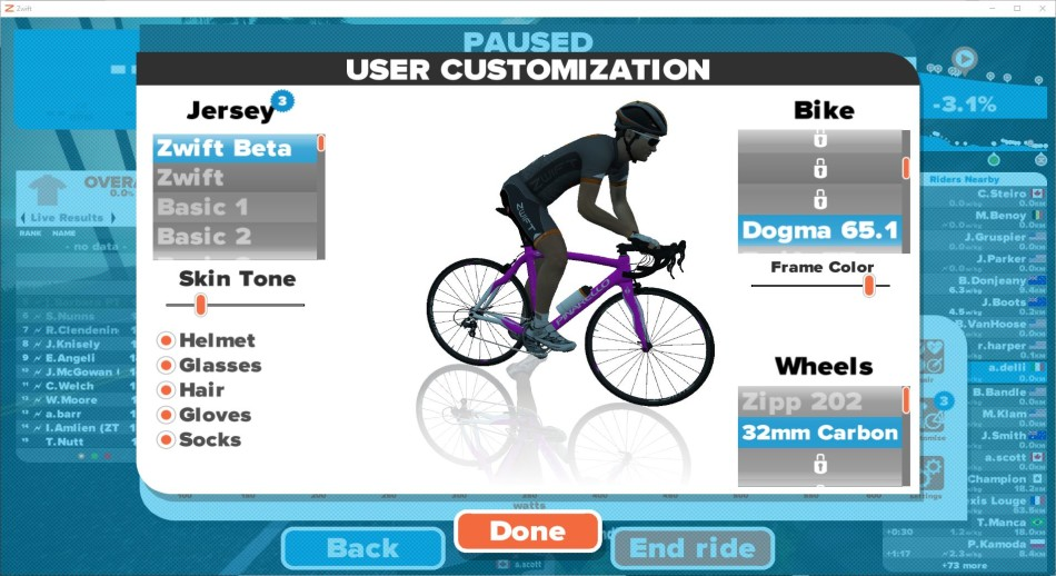 zwift customization
