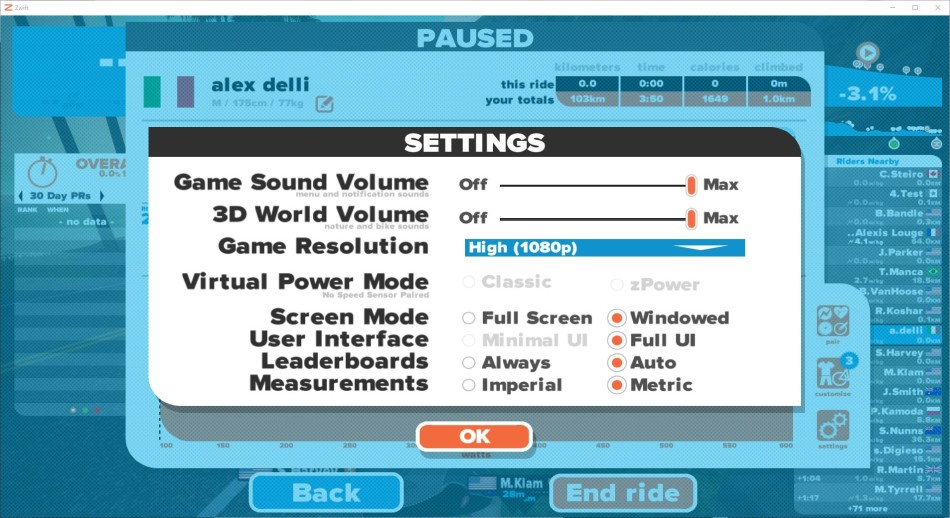 zwift settings